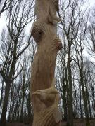 'Hawk totem' , Dipper and Butterfly detail, Oak, Ox Lodge Woods.